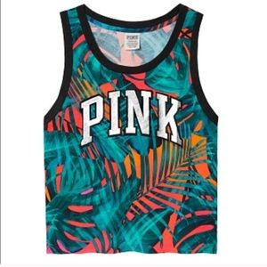 VS PINK tropical sunset boxy muscle tee tank top